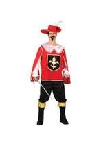 Men's Red Black Gold 3 Musketeers Costume