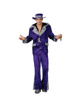 Men's 1970s Purple Velvet Pimp Costume
