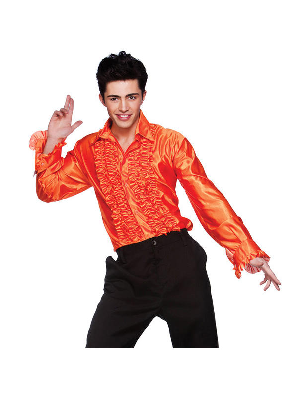 Orange Disco Ruffled Shirt