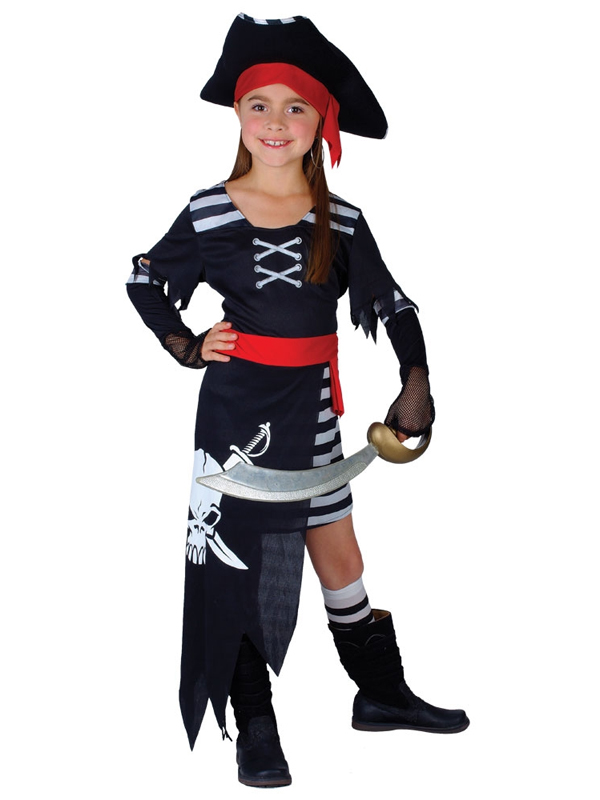 Girl's Skull and Cross Bones Pirate Costume