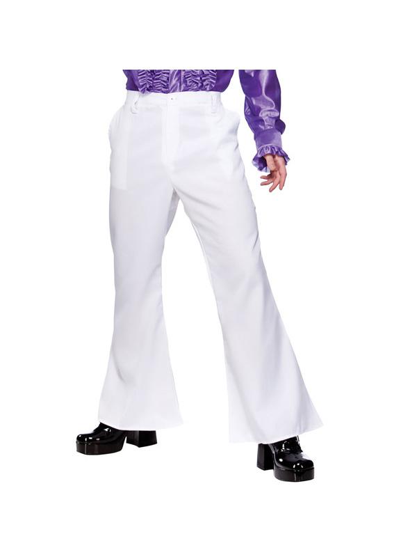Men's 1970s White flare Disco trousers