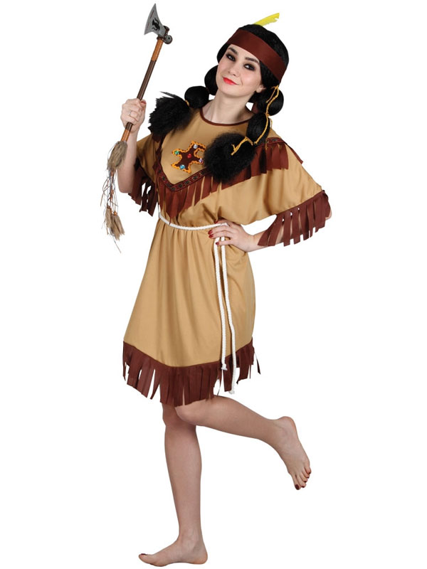 Ladies Tasselled Native Indian Squaw Costume