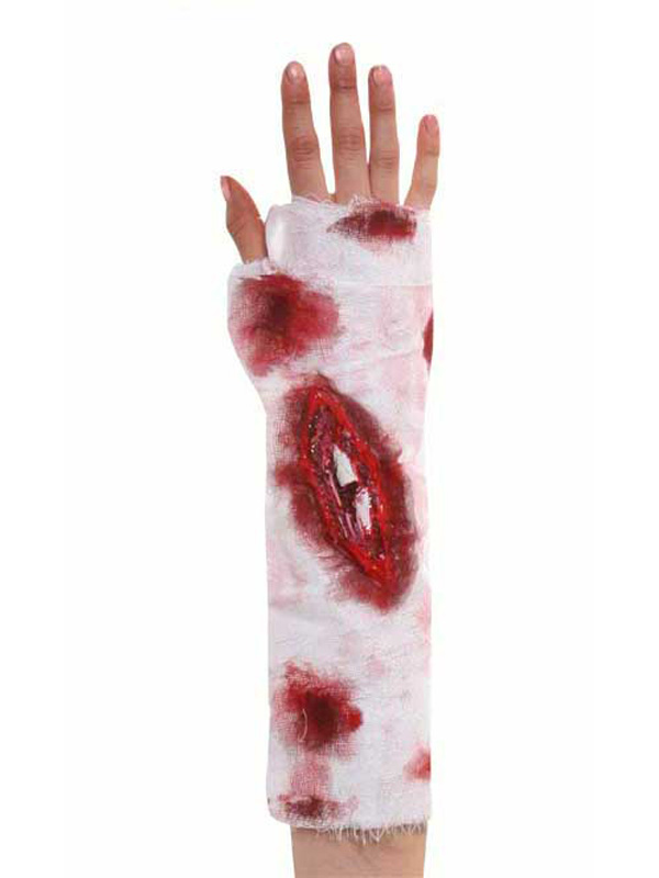 Blood Stained Bandage With Wound