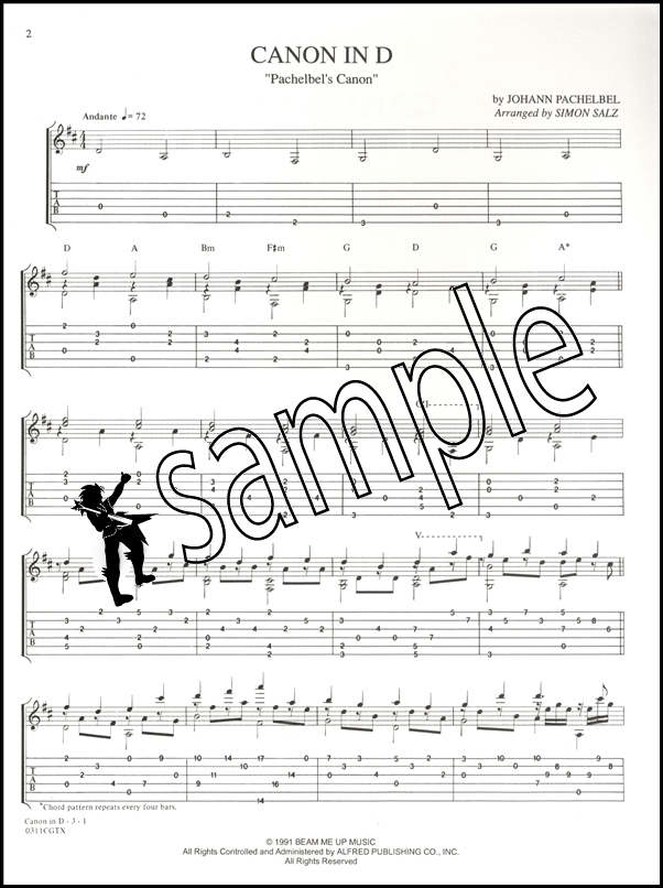 Pachelbel Canon In D Guitar Sheet Music Hamcor