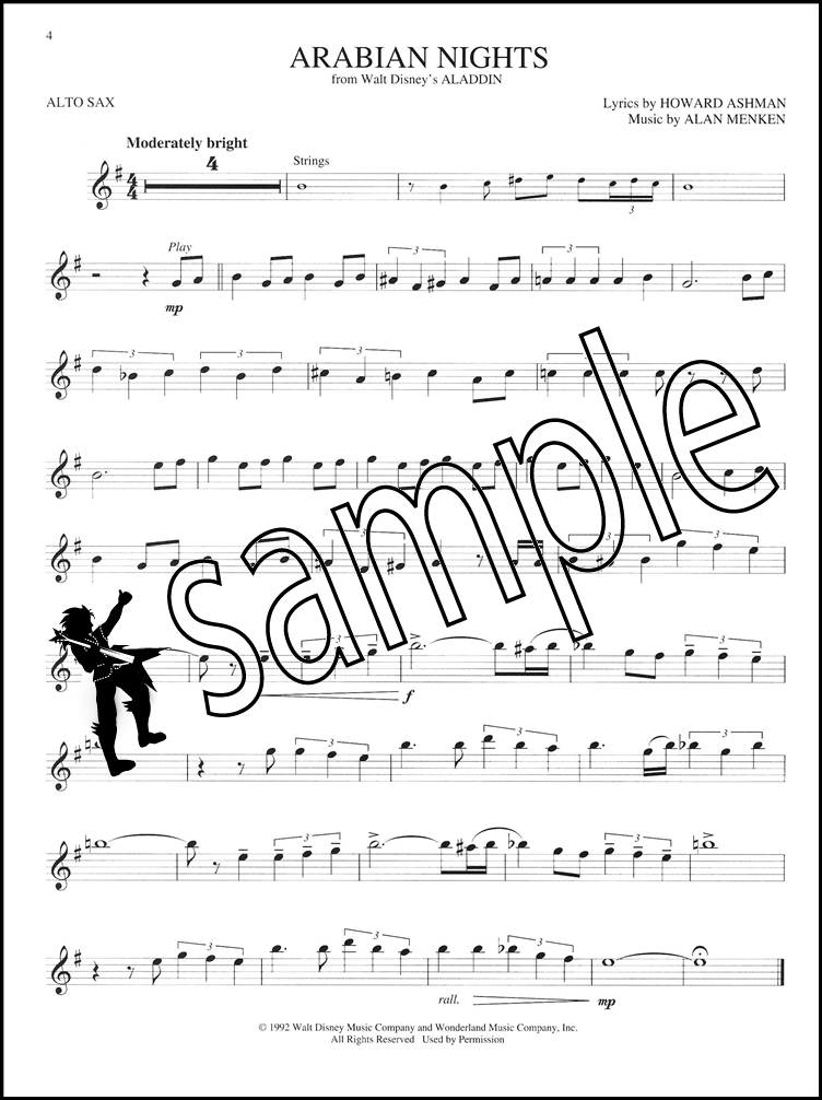 All Music Chords saxophone solo sheet music : Disney Greats Alto Sax Sheet Music Book with Audio Saxophone Play ...