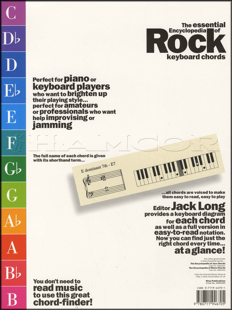 The Encyclopedia Of Rock Chords Piano Keyboard Hamcor