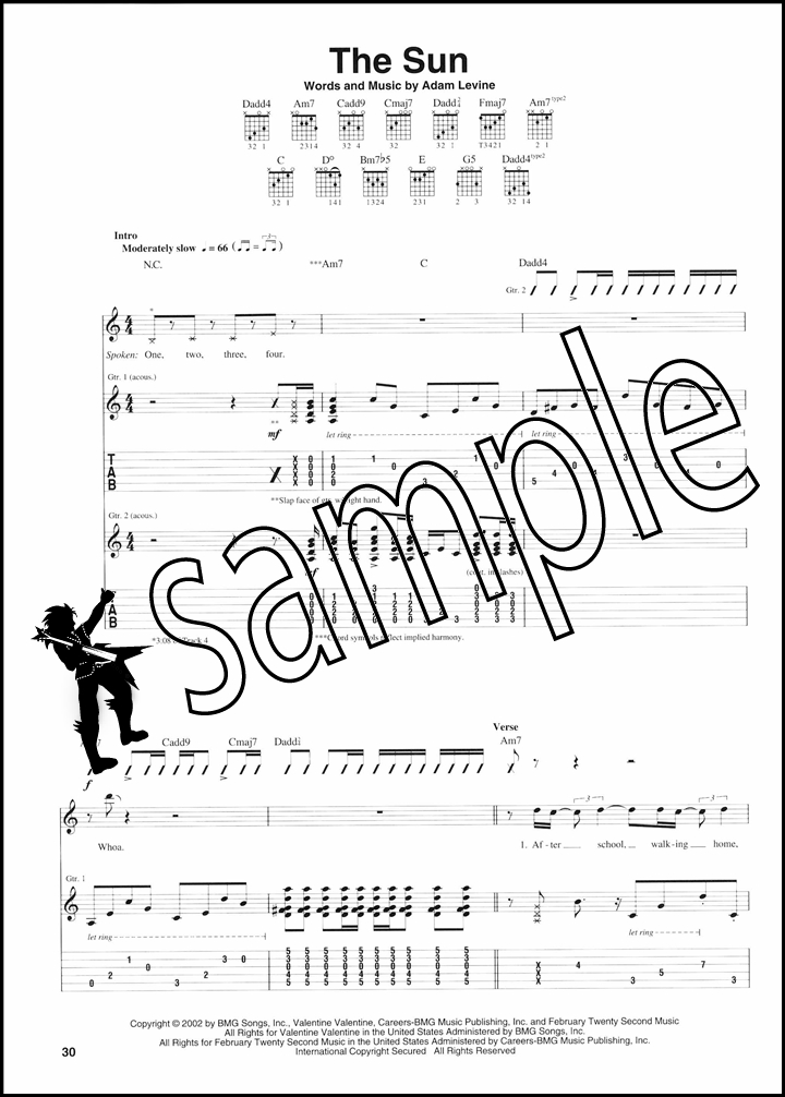 Maroon 5 12203 Acoustic Guitar Tab Music Book Highway To Hell This