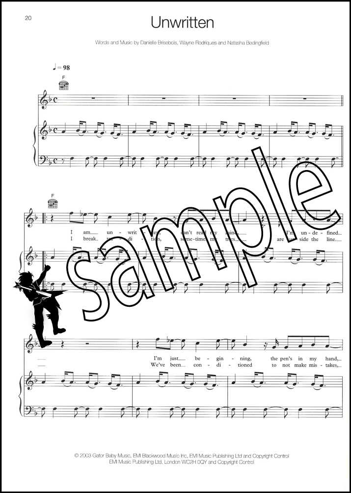 Natasha Bedingfield Unwritten Piano Vocal Guitar Sheet Music Book | eBay