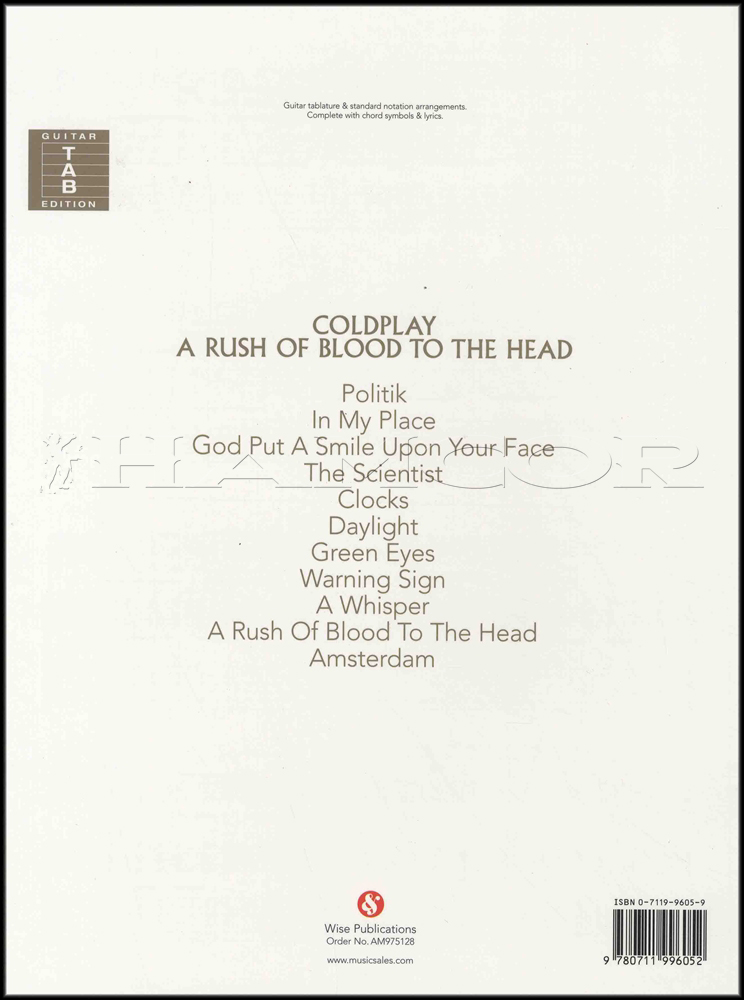 Coldplay A Rush Of Blood To The Head Guitar | Hamcor