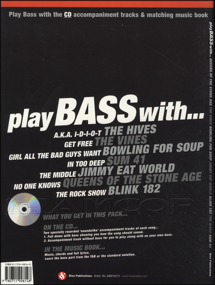 Play Bass With Queens Vines Blink Hives Sum 41 Book/CD | Hamcor