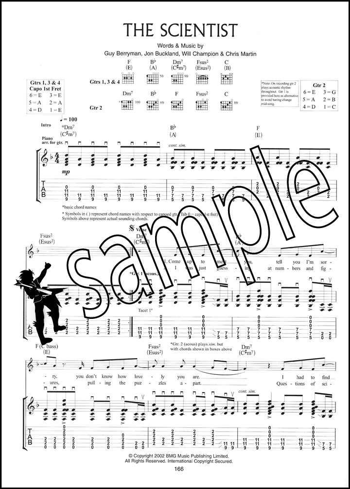 Coldplay The Singles & B Sides Guitar TAB Music Book Fix You Clocks ...
