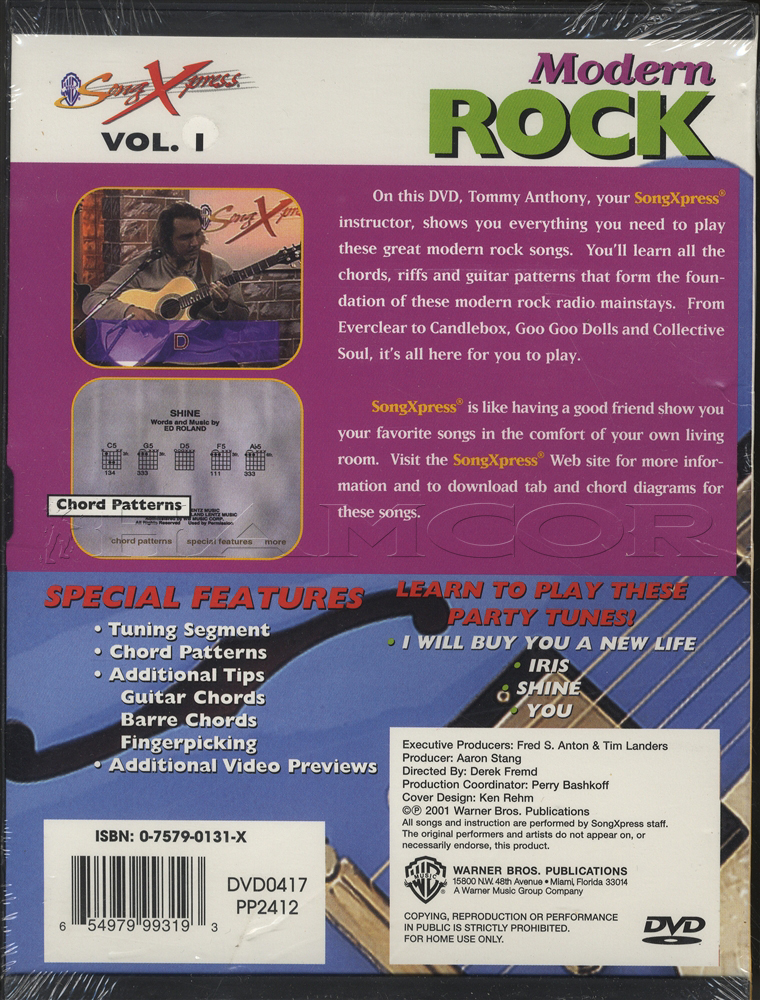 Modern Rock for Guitar Volume 1 Learn How to Play Tuition DVD Iris ...