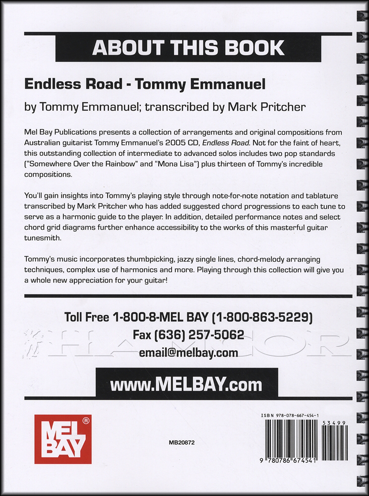Tommy Emmanuel Endless Road Guitar Tab Music Book Somewhere Over The