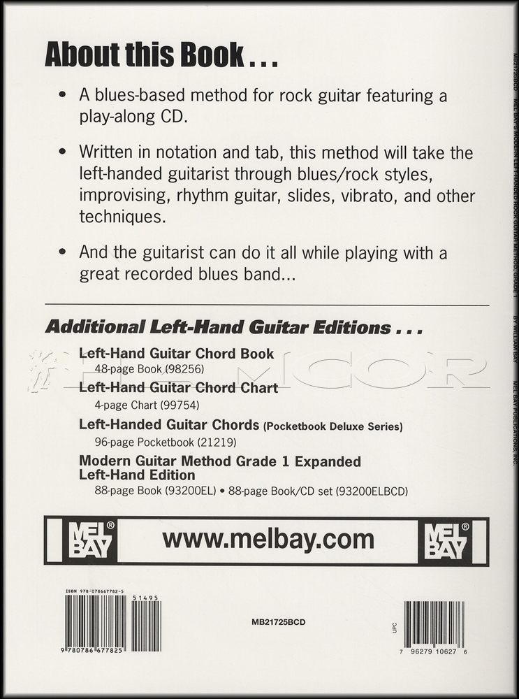 Left Handed Rock Guitar Method Grade 1 Bookcd Hamcor