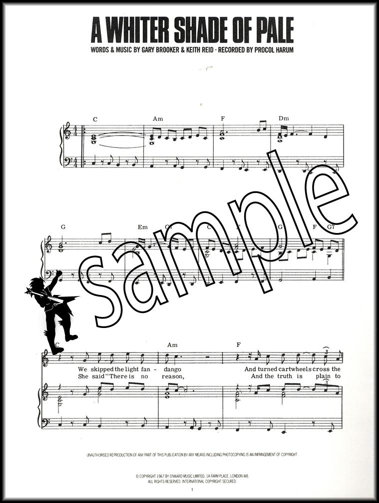 All Music Chords plain sheet music : Procul Harum A Whiter Shade of Pale Piano Vocal Guitar Sheet Music ...