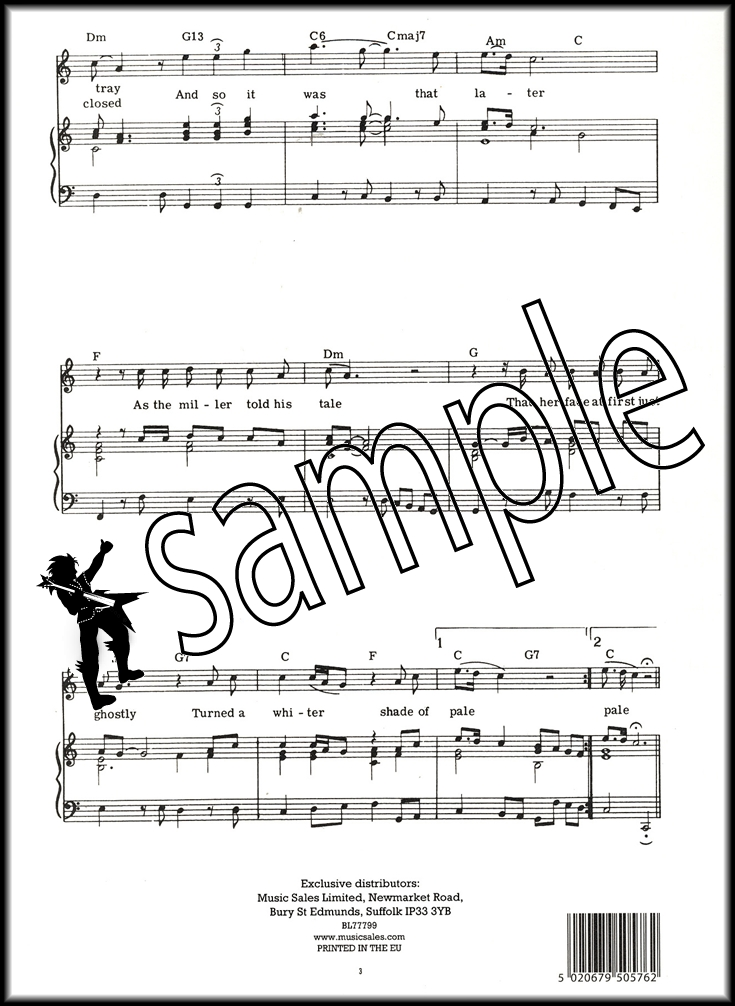 Sentinel Procul Harum A Whiter Shade of Pale Piano Vocal Guitar Sheet Music  PVG