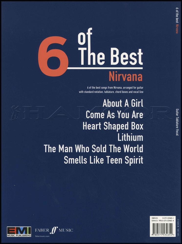 Nirvana 6 Of The Best Guitar Tab Music Book Smells Like Teen Spirit