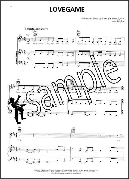 Lady Gaga The Fame Piano Vocal Guitar Pvg Sheet Music Book Melody