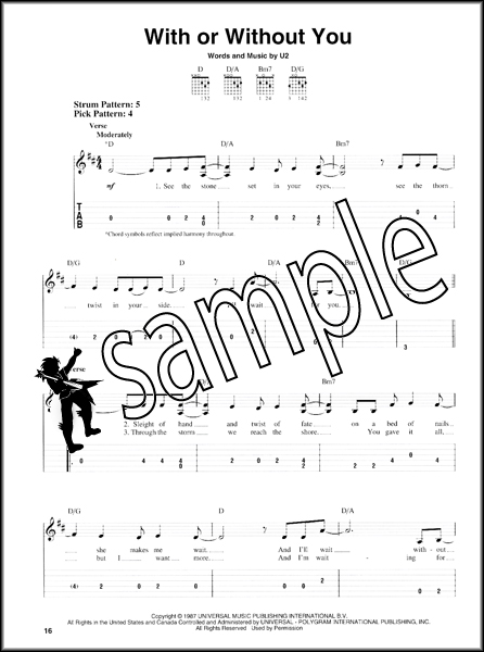 U2 18 Singles Easy Guitar TAB Book with Melody Lyrics Chord Boxes ...