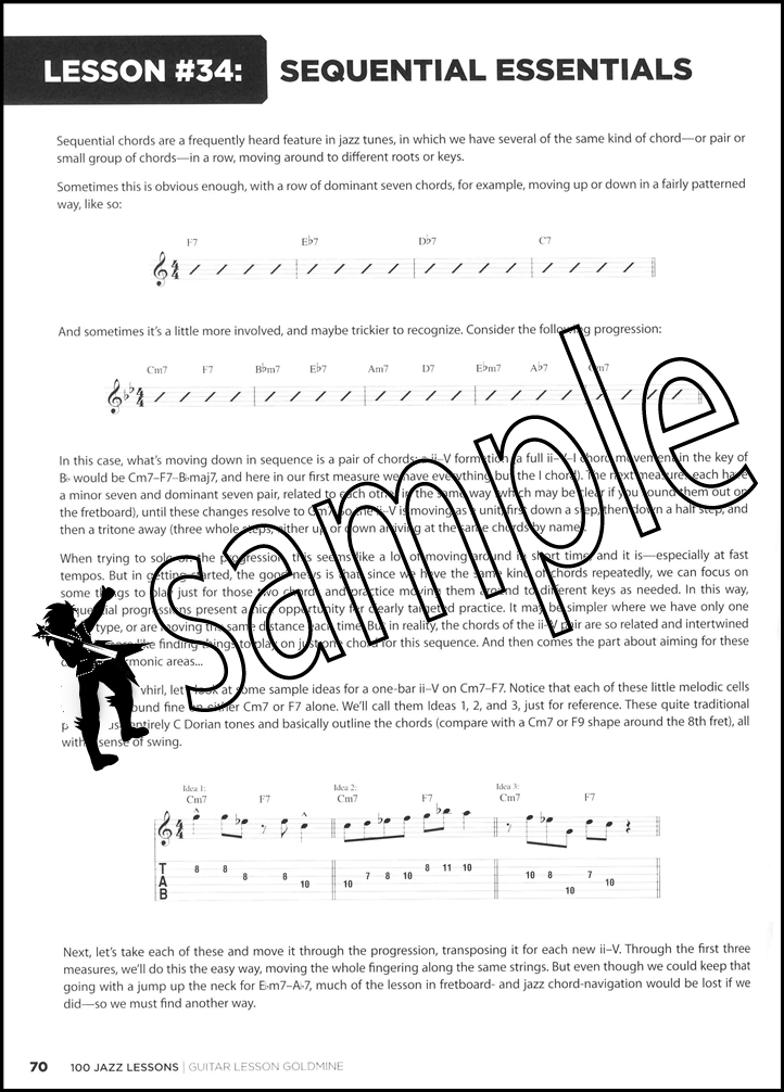 100 Jazz Lessons Guitar TAB Book/Audio Scales Modes Arpeggios Chords ...