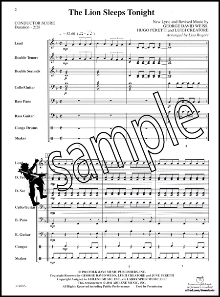 the lion sleeps tonight pop steel drum ensemble sheet