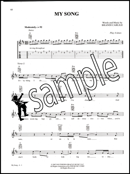 Brandi Carlile The Songbook Guitar Chord & Meloday Music Book with ...