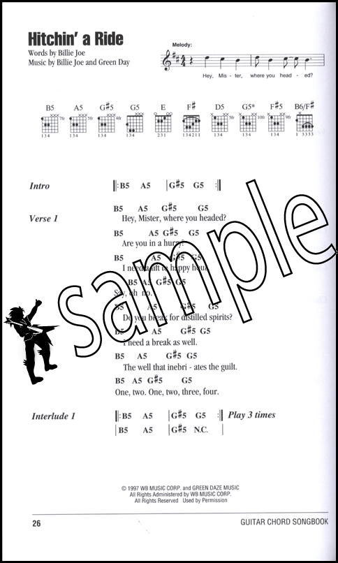 Green Day Guitar Chord Songbook   Hamcor