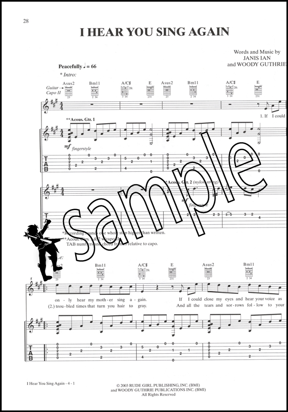 The Janis Ian Guitar Songbook Guitar Tab Edition Hamcor