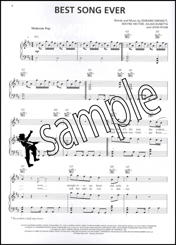 One Direction Midnight Memories Piano Vocal Guitar Sheet Music Book