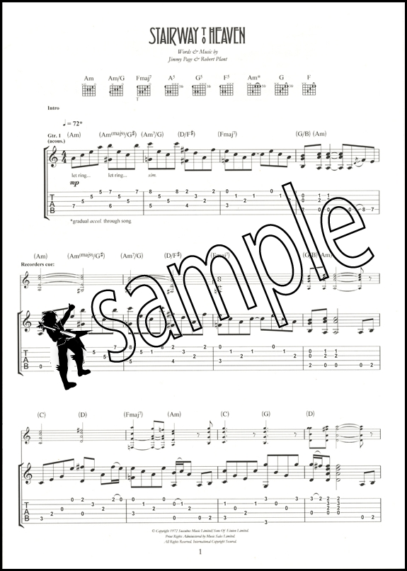 Guitar guitar tablature for stairway to heaven : Stairway to Heaven Led Zeppelin Guitar TAB Edition | Hamcor