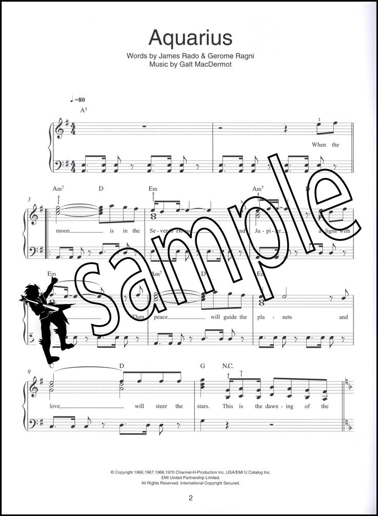 Piano easy piano sheet : Hair The Musical Easy Piano Sheet Music Book Aquarius Good Morning ...