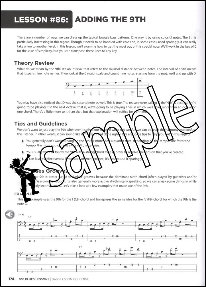 100 Blues Lessons Bass Guitar Book/Audio | Hamcor