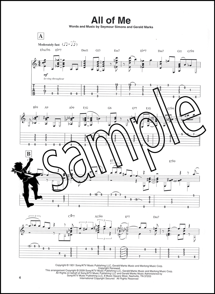 Jazz Standards For Solo Guitar Tab Music Book With Audio Chord