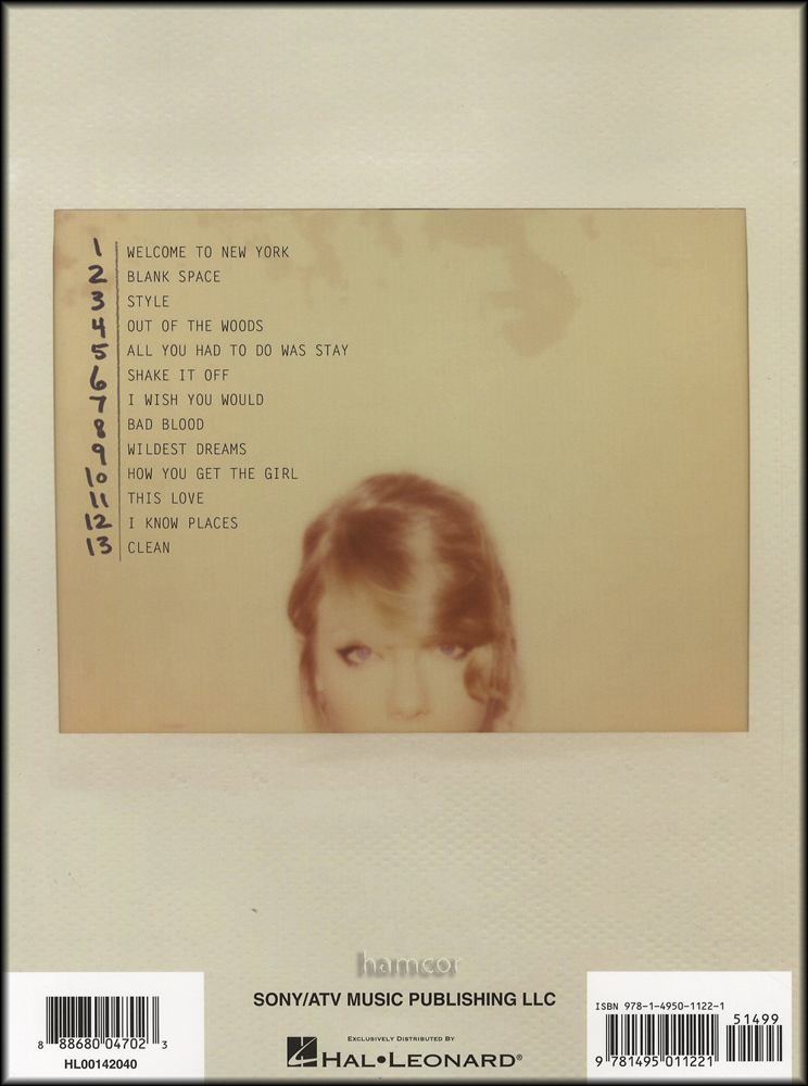 Taylor Swift 1989 Big Note Piano Guitar Chords Music Songbook Blank