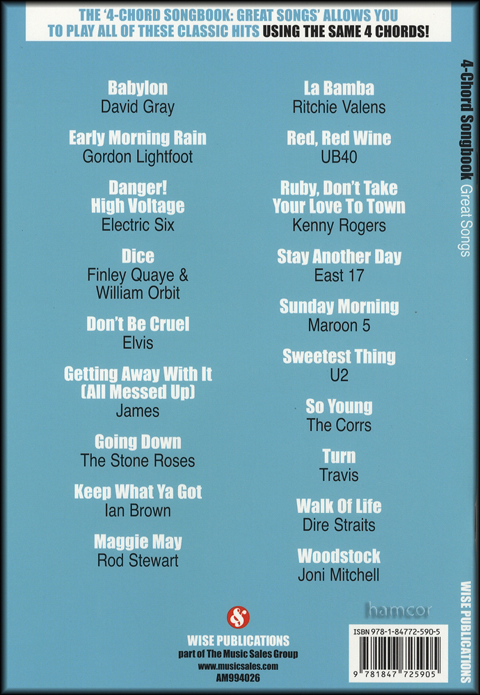 4 Chord Songbook Great Songs Guitar Chord Songbook Learn To Play Ebay