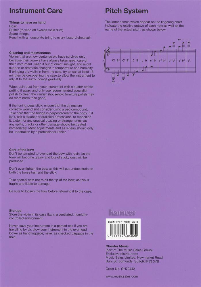 Violin Fingering Chart  Hamcor