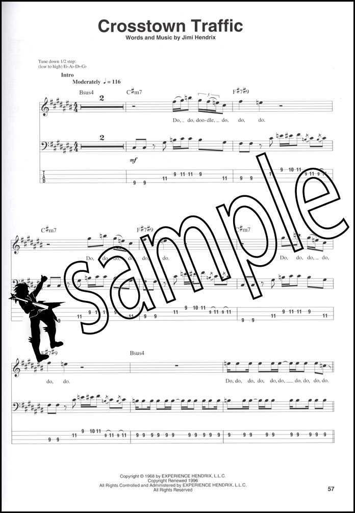 Jimi Hendrix Smash Hits Guitar Bass Play Along Tab Music Bookbookcd