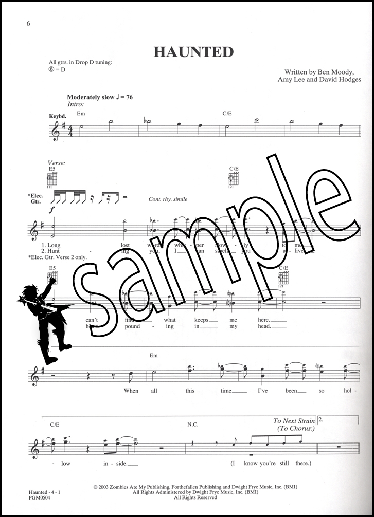 Evanescence Anywhere But Home Guitar Tab Music Book Bring Me To Life