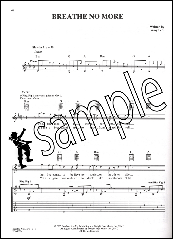 Piano immortals piano sheet music : Evanescence Anywhere But Home Guitar TAB Music Book Bring Me To ...