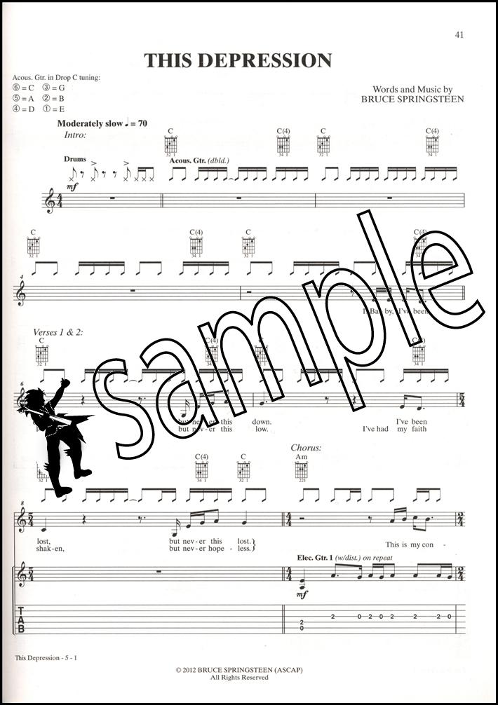 Bruce Springsteen Wrecking Ball Guitar TAB Sheet Music Book ...