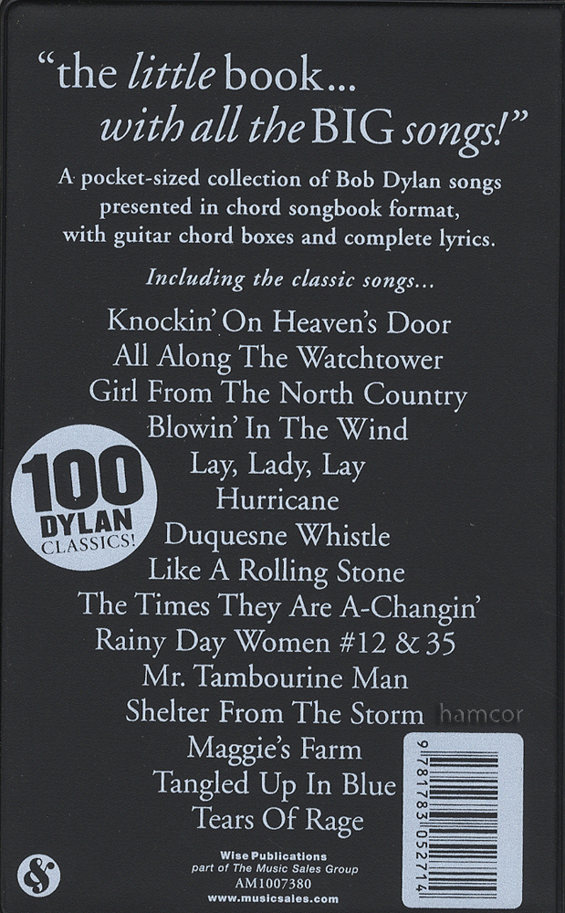 Bob Dylan The Little Black Songbook Revised Edition Guitar Chord