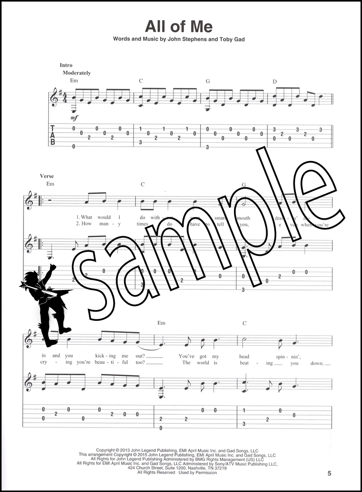 Sentinel Fingerpicking Popular Hits Guitar TAB Sheet Music Book Royals Skyfall Brave Stay