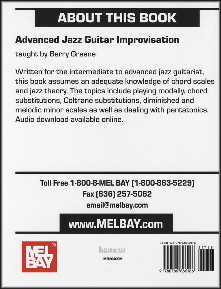 Advanced Jazz Guitar Improvisation Bookaudio Hamcor