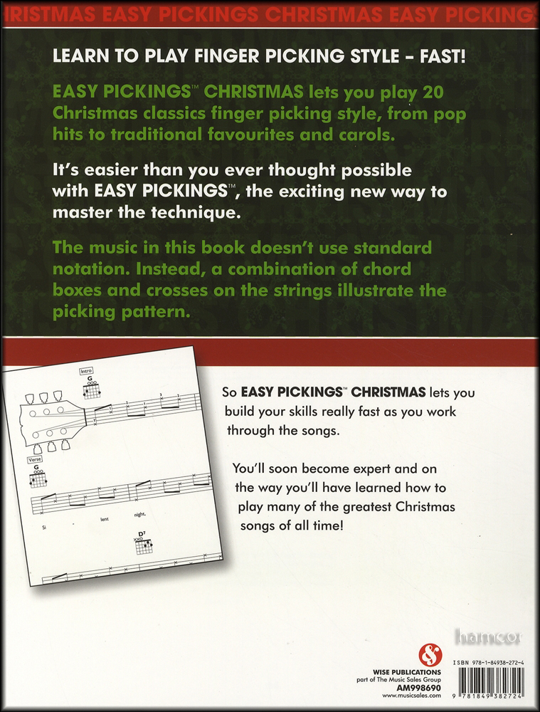 Rrp 1295 Easy Pickings Christmas Guitar Tab Chord Book Jingle Bells