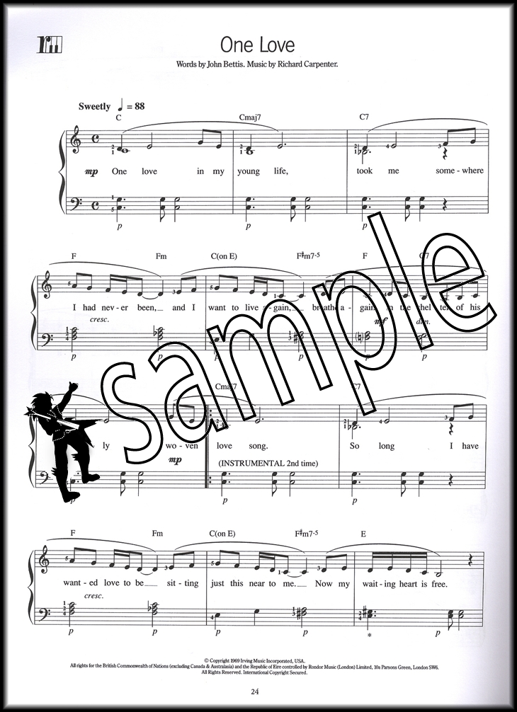 The Complete Piano Player Carpenters Sheet Music Book 18 Songs ...