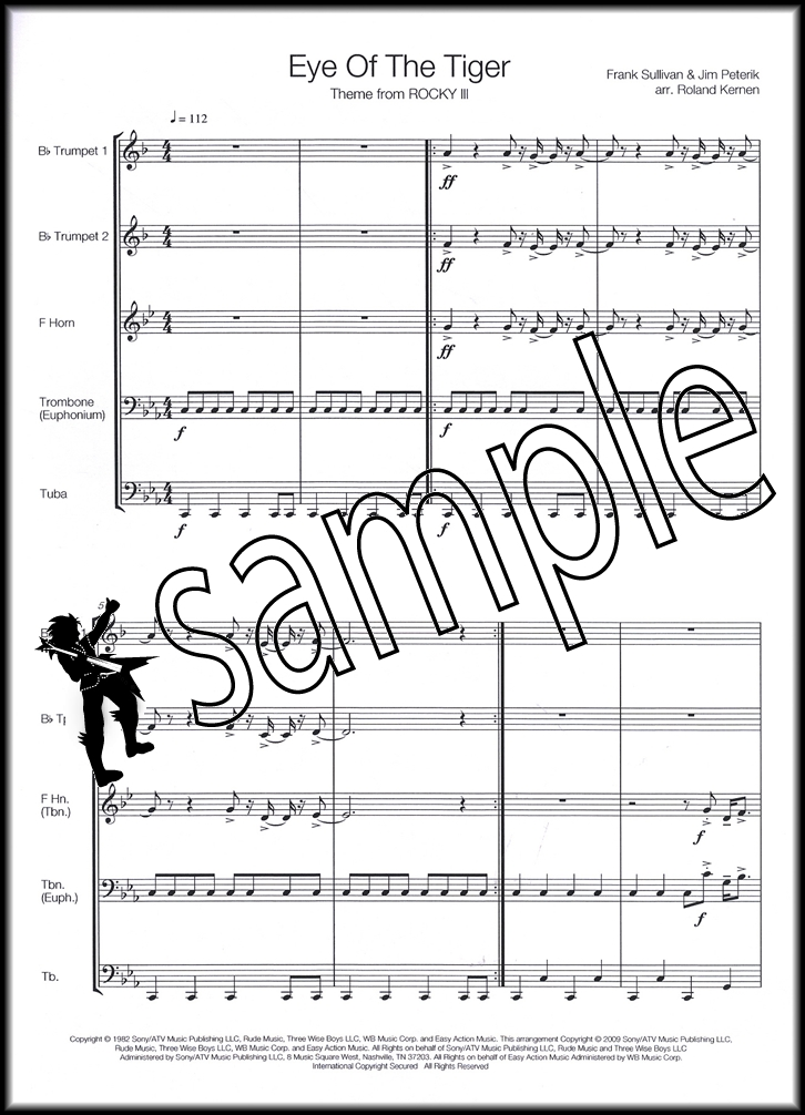Eye Of The Tiger for Brass Quintet Score & Parts Sheet Music Book ...