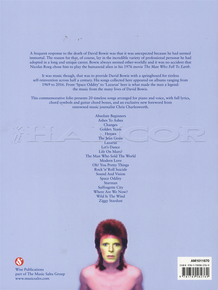 David Bowie 1947-2016 PVG Piano Vocal Guitar Sheet Music Book Ziggy ...