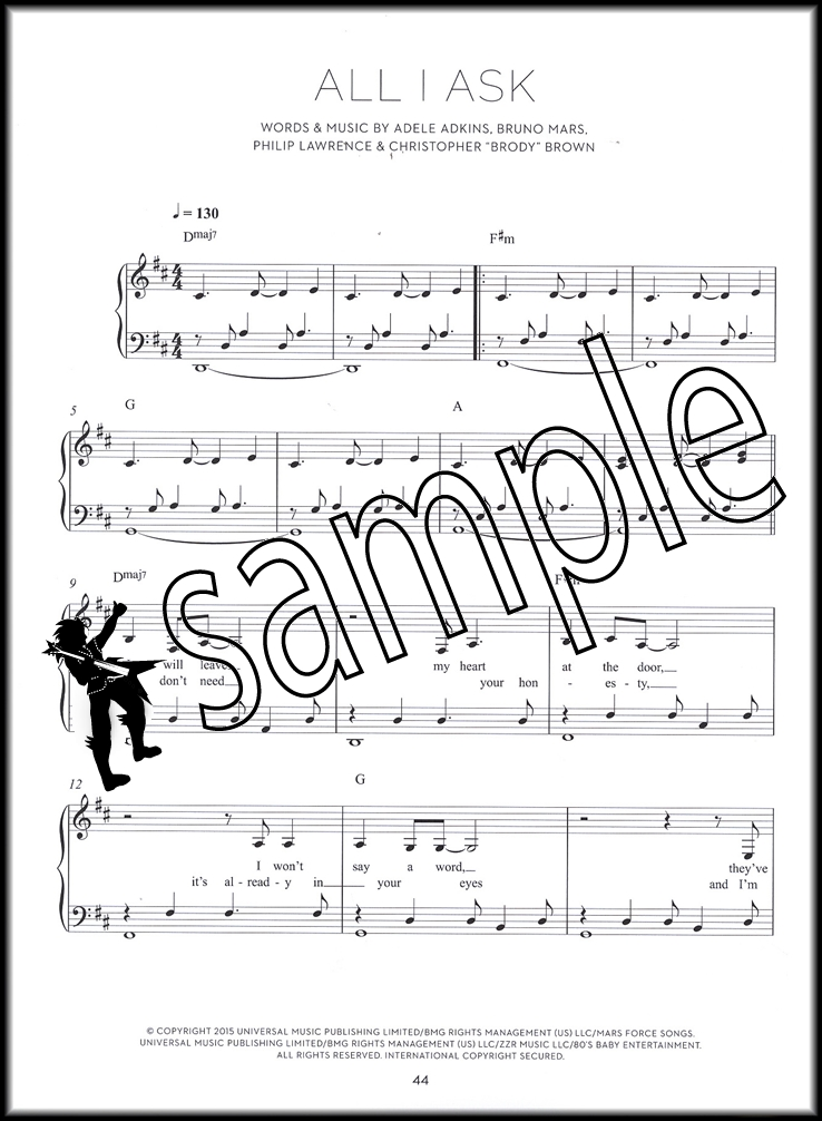 Piano sheet music for beginners adele