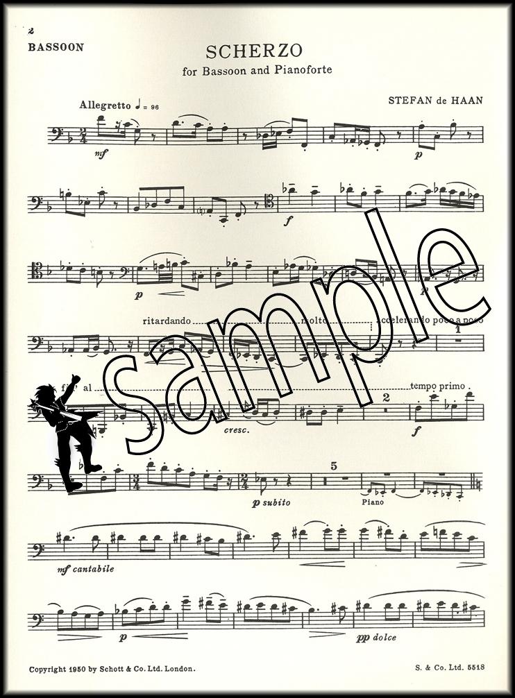 Stefan de Haan Scherzo for Bassoon and Piano Sheet Music Book | eBay