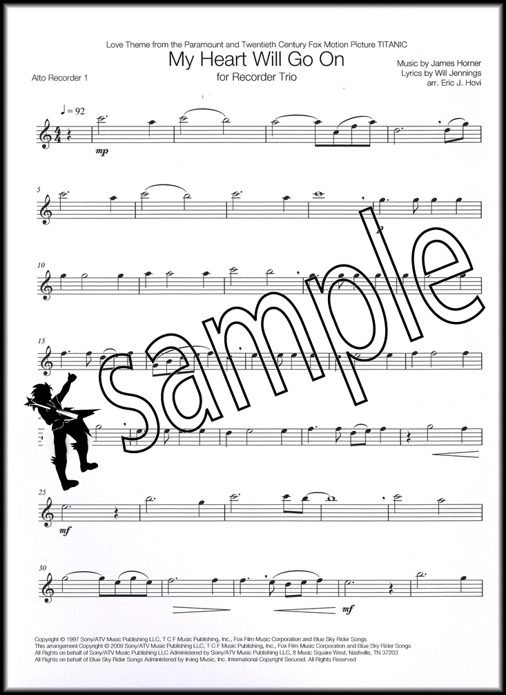 All Music Chords my heart will go on sheet music : My Heart Will Go On for Recorder Trio Sheet Music Book Titanic ...